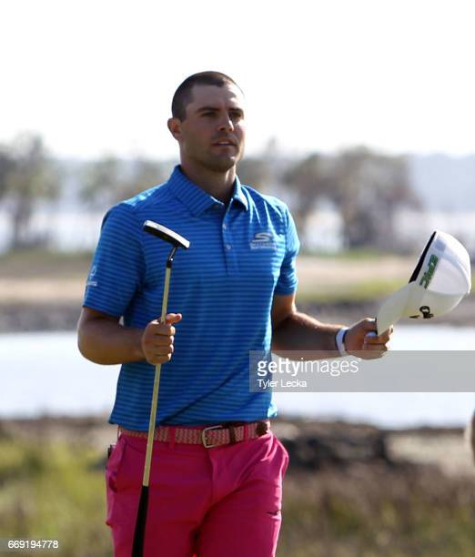 Wesley Bryan reacts after winning 2017 RBC Heritage at Harbour Town Golf Links on April 16 2017 in Hilton Head Island South Carolina