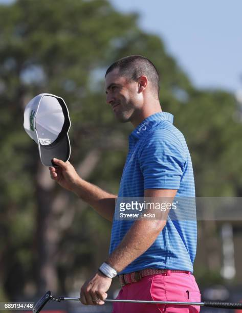 Wesley Bryan reacts after winning the 2017 RBC Heritage at Harbour Town Golf Links on April 16 2017 in Hilton Head Island South Carolina