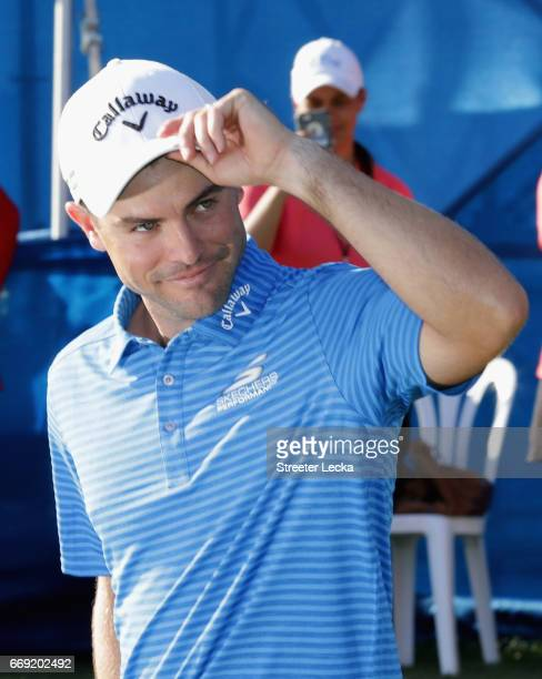 Wesley Bryan reacts after winning the 2017 RBC Heritage at Harbour Town Golf Links during the final round on April 16 2017 in Hilton Head Island...