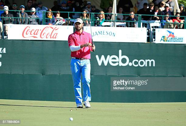 Wesley Bryan reacts to his missed birdie putt on the 18th green during the final round of the Chitimacha Louisiana Open presented by NACHER held at...