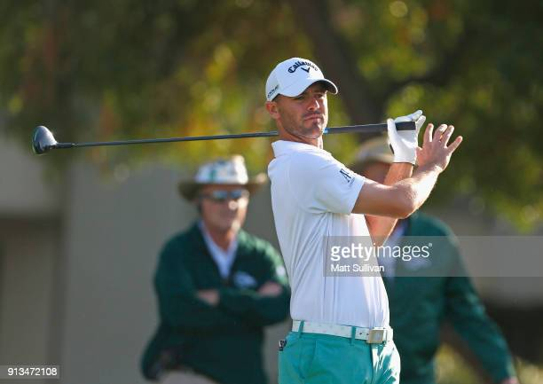 Wesley Bryan watches his tee shot on the fifth hole during the second round of the Waste Management Phoenix Open at TPC Scottsdale on February 2 2018...