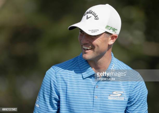 Wesley Bryan watches on at the 16th hole during the final round of the 2017 RBC Heritage at Harbour Town Golf Links on April 16 2017 in Hilton Head...