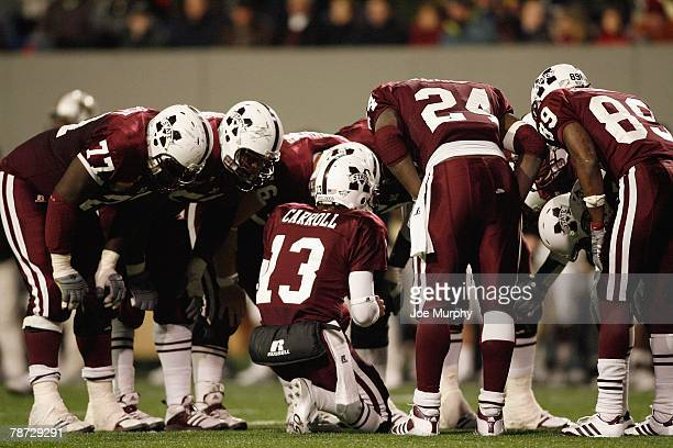 Wesley Carroll of the Mississippi State Bulldogs calls a play in the huddle against the UCF Knights on December 29 2007 at the Liberty Bowl Memorial...