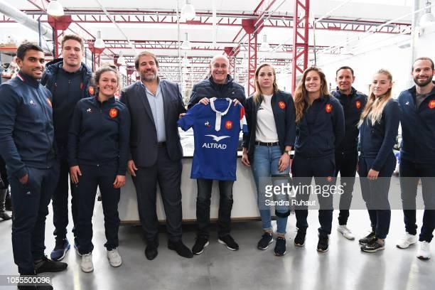 Wesley Fofana, Bernard Leroux, Mathilde Coutouly, Serge Simon, vice president of the French Federation of Rugby, Bernard Laporte, president of the...
