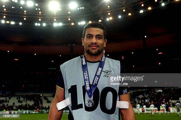 Wesley Fofana of France poses with his Man of the Match Award after the RBS Six Nations match between France and Scotland at Stade de France on March...