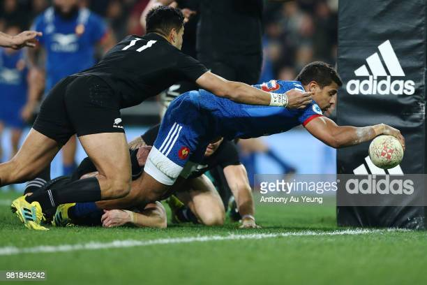 Wesley Fofana of France scores a try during the International Test match between the New Zealand All Blacks and France at Forsyth Barr Stadium on...