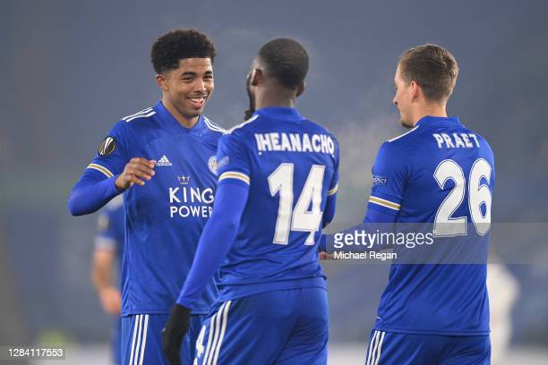 Wesley Fofana of Leicester City and Kelechi Iheanacho of Leicester City celebrate with Dennis Praet of Leicester City after Dennis Praet scores his...