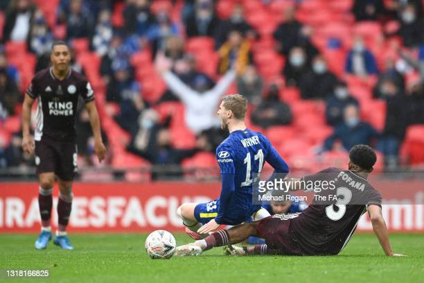 Wesley Fofana of Leicester City fouls Timo Werner of Chelsea during The Emirates FA Cup Final match between Chelsea and Leicester City at Wembley...
