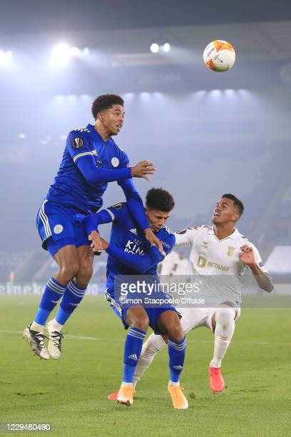 Wesley Fofana of Leicester climbs above teammate James Justin of Leicester and Galeno of Braga during the UEFA Europa League Group G stage match...