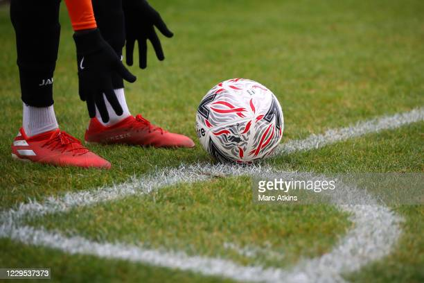 Wesley Fonguck of Barnet places the ball before taking a corner during the FA Cup First Round match between Barnet and Burton Albion on November 8,...