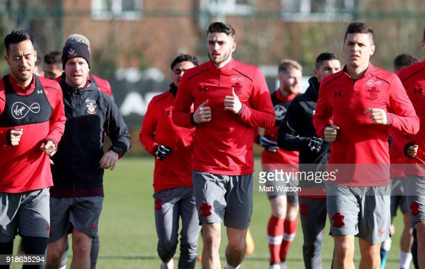 Wesley Hoedt and Guido Carrillo during a Southampton FC training session at the Staplewood Campus on February 15 2018 in Southampton England