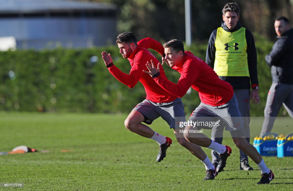 Wesley Hoedt(L) and Jan Bednarek of Southampton FC during a training session at the Staplewood Campus on January 19, 2018 in Southampton, England.