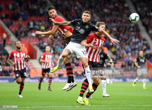 Wesley Hoedt and Jannik Vestergaard of Southampton battle for the header with Jeff Hendrick of Burnley during the Premier League match between...