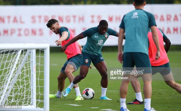 Wesley Hoedt and Michael Obafemi during a Southampton FC training session at the Staplewood Campus on August 20 2019 in Southampton England