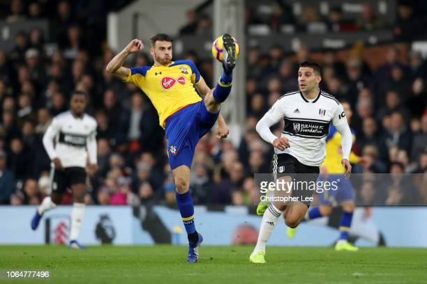 Wesley Hoedt of Southampton controls the ball during the Premier League match between Fulham FC and Southampton FC at Craven Cottage on November 24...