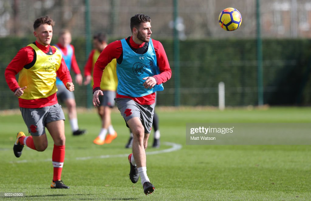 Wesley Hoedt of Southampton FC during a training session at the Staplewood Campus on February 20, 2018 in Southampton, England.
