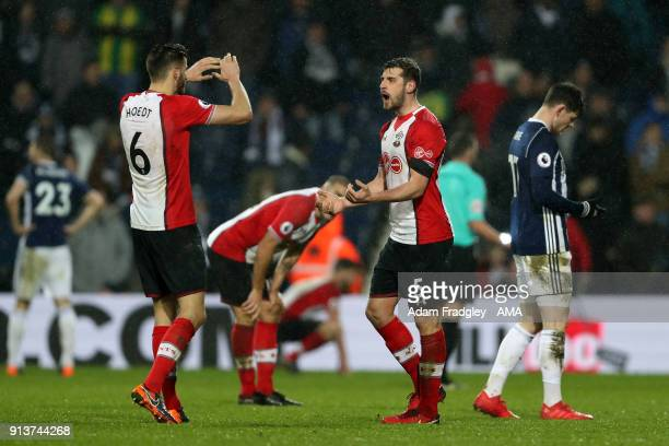 Wesley Hoedt of Southampton Football Club and Jack Stephens of Southampton Football Club celebrate during the Premier League match between West...