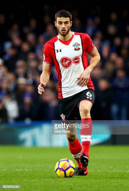 Wesley Hoedt of Southampton in action during the Premier League match between Chelsea and Southampton at Stamford Bridge on December 16 2017 in...