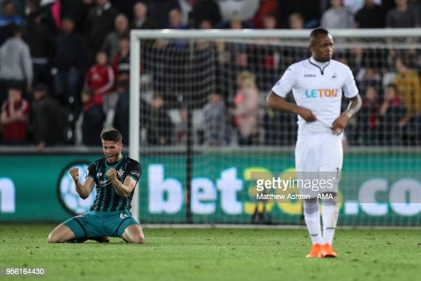 Wesley Hoedt of Southampton reacts at full time during the Premier League match between Swansea City and Southampton at Liberty Stadium on May 8 2018...