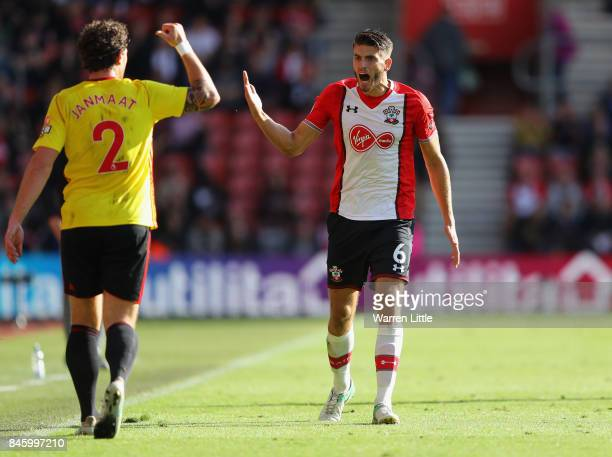Wesley Hoedt of Southampton reacts to a line call during the Premier League match between Southampton and Watford at St Mary's Stadium on September 9...