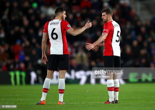 Wesley Hoedt of Southampton speaks to Jack Stephens of Southampton during the Premier League match between Southampton and Liverpool at St Mary's...