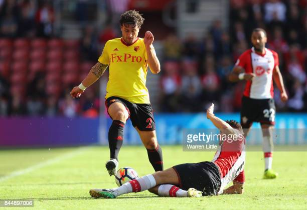 Wesley Hoedt of Southampton tackles Daryl Janmaat of Watford during the Premier League match between Southampton and Watford at St Mary's Stadium on...