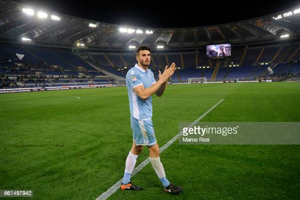 Wesley Hoedt of SS Lazio celebrates a winner game after the Serie A match between SS Lazio and FC Torino at Stadio Olimpico on March 13 2017 in Rome...