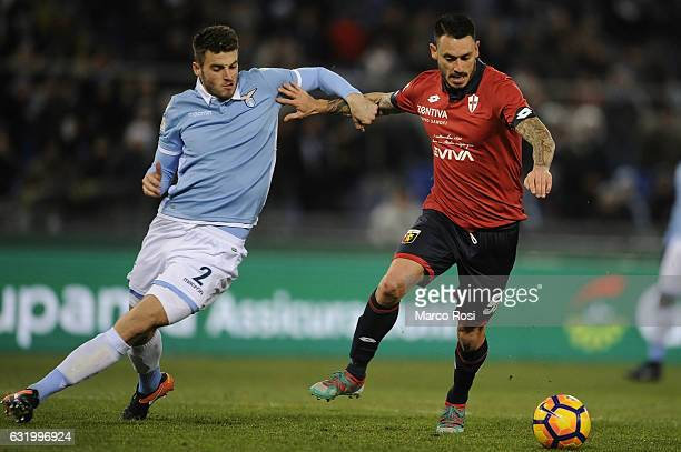 Wesley Hoedt of SS Lazio compete for the ball with Mauricio Pinilla of Genoa CFC during the TIM Cup match between SS Lazio and Genoa CFC at Olimpico...