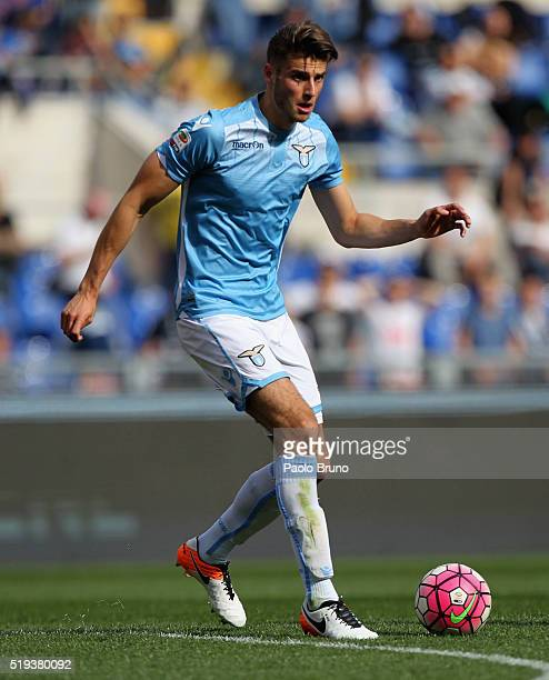 Wesley Hoedt of SS Lazio in action during the Serie A match between SS Lazio and AS Roma at Stadio Olimpico on April 3 2016 in Rome Italy