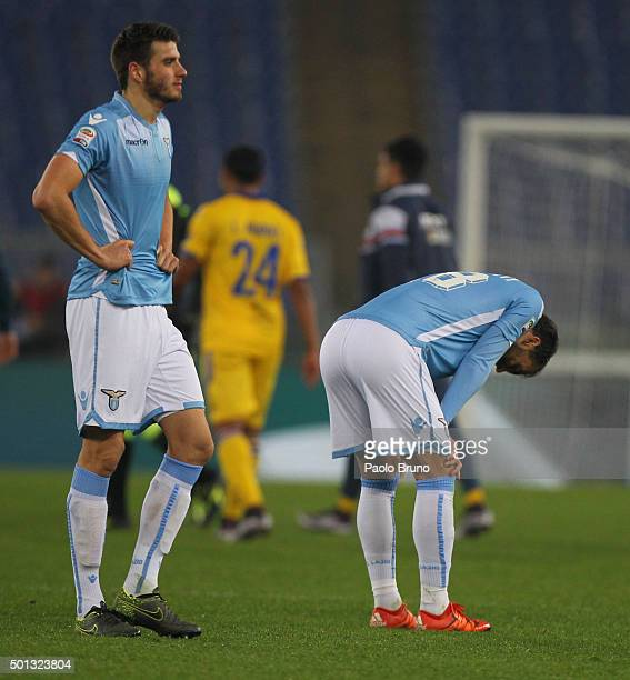 Wesley Hoedt of SS Lazio shows his dejection after the Serie A match betweeen SS Lazio and UC Sampdoria at Stadio Olimpico on December 14 2015 in...