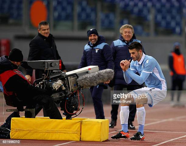 Wesley Hoedt SS Lazio celebrates after scoring the opening goal during the TIM Cup match between SS Lazio and Genoa CFC at Olimpico Stadium on...