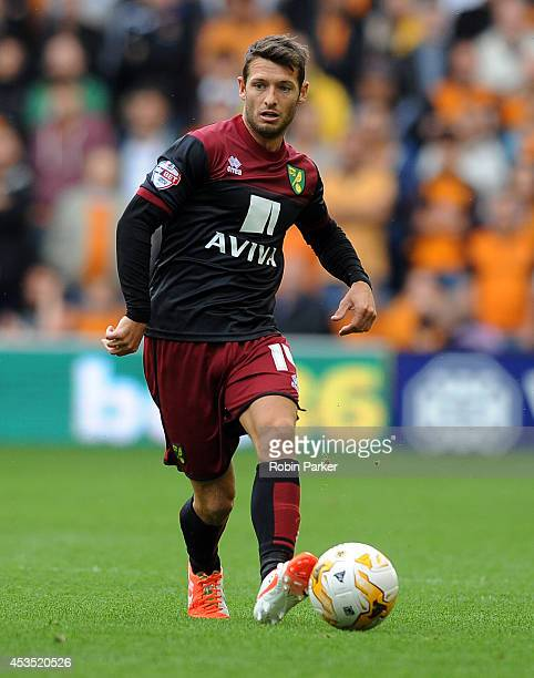 Wesley Hoolahan of Norwich City during the Sky Bet Championship match between Wolverhampton Wanderers and Norwich City at the Molineux Stadium on...