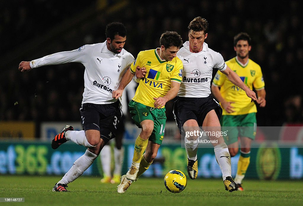 Wesley Hoolahan of Norwich City is closed down by Sandro and Scott Parker of Spurs during the Barclays Premier Leauge match between Norwich City and Tottenham Hotspur at Carrow Road on December 27, 2011 in Norwich, England.