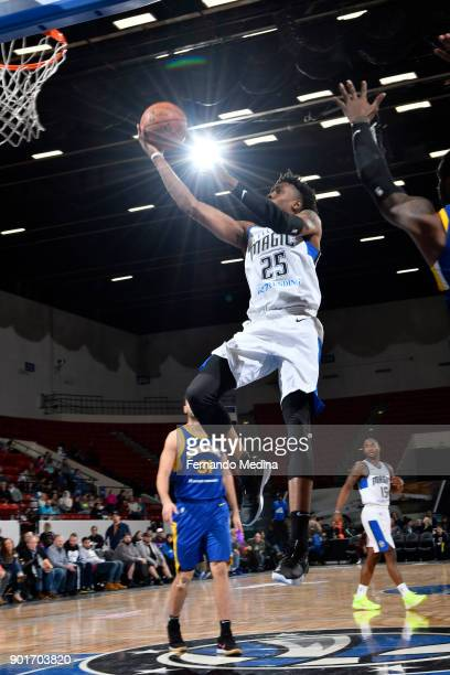 Wesley Iwundu of the Lakeland Magic shoots against the Santa Cruz Warriors during the game on January 5, 2018 at RP Funding Center in Lakeland,...