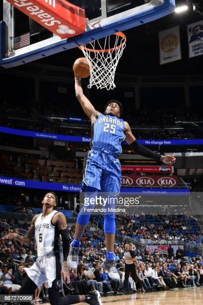 Wesley Iwundu of the Orlando Magic drives to the basket against the San Antonio Spurs on October 27 2017 at Amway Center in Orlando Florida NOTE TO...