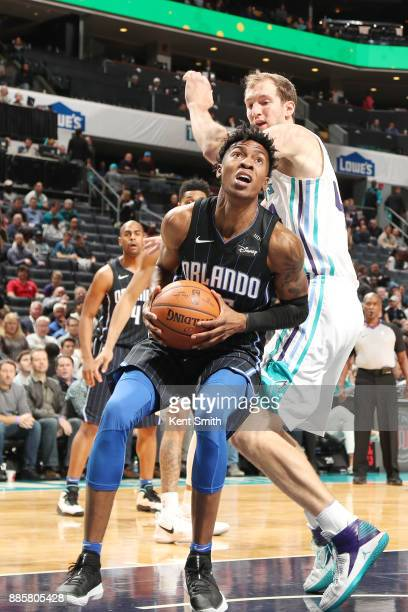 Wesley Iwundu of the Orlando Magic drives to the basket against the Charlotte Hornets on December 4 2017 at Spectrum Center in Charlotte North...