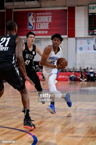 Wesley Iwundu of the Orlando Magic drives to the basket against the Brooklyn Nets during the 2018 Las Vegas Summer League on July 6 2018 at the Cox...