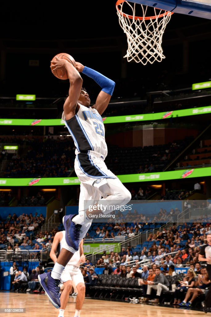 Wesley Iwundu #25 of the Orlando Magic dunks against the Dallas Mavericks during a preseason game on October 5, 2017 at Amway Center in Orlando, Florida.