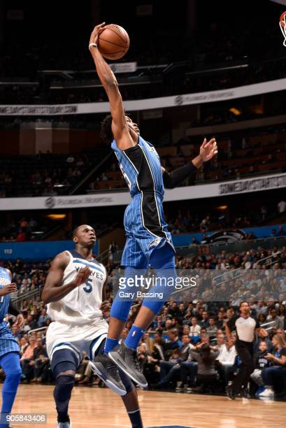 Wesley Iwundu of the Orlando Magic dunks the ball against the Minnesota Timberwolves on January 16 2018 at Amway Center in Orlando Florida NOTE TO...