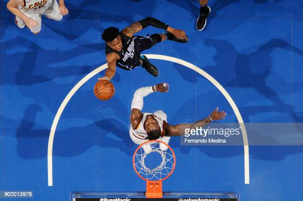 Wesley Iwundu of the Orlando Magic goes to the basket against Jae Crowder of the Cleveland Cavaliers on January 6 2018 at Amway Center in Orlando...