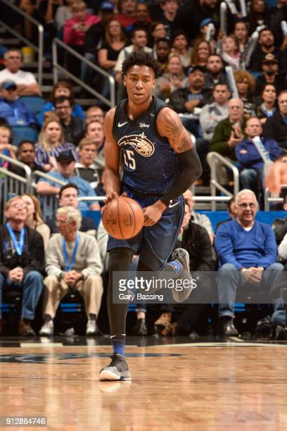 Wesley Iwundu of the Orlando Magic handles the ball against the Los Angeles Lakers on January 31 2018 at Amway Center in Orlando Florida NOTE TO USER...
