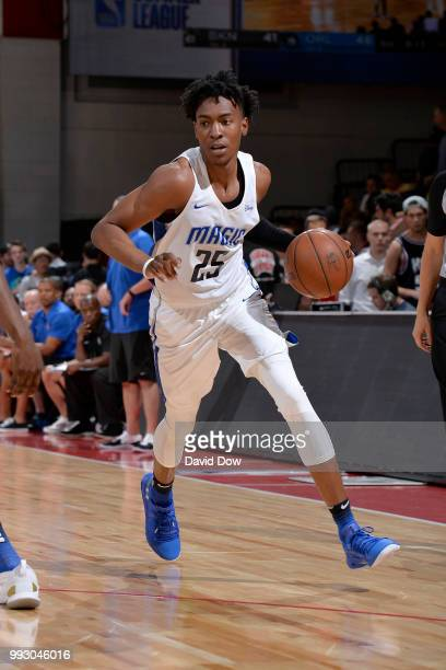 Wesley Iwundu of the Orlando Magic handles the ball against the Brooklyn Nets during the 2018 Las Vegas Summer League on July 6 2018 at the Cox...