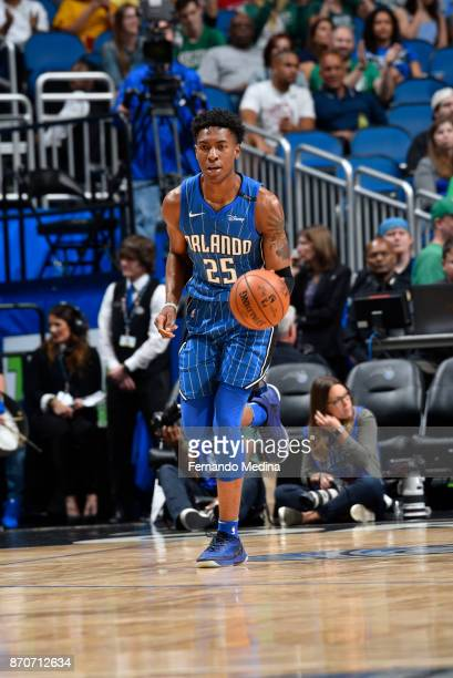 Wesley Iwundu of the Orlando Magic handles the ball against the Boston Celtics on November 5 2017 at Amway Center in Orlando Florida NOTE TO USER...