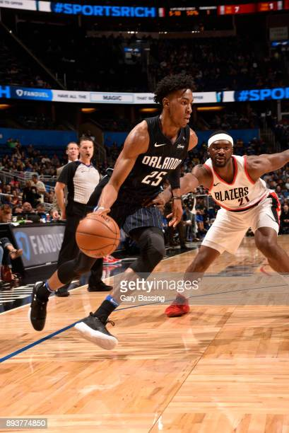 Wesley Iwundu of the Orlando Magic handles the ball against the Portland Trail Blazers on December 15 2017 at Amway Center in Orlando Florida NOTE TO...