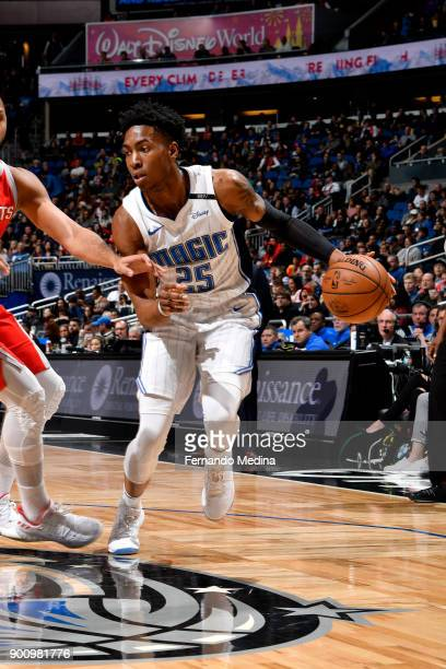 Wesley Iwundu of the Orlando Magic handles the ball against the Houston Rockets on January 3 2018 at the Amway Center in Orlando Florida NOTE TO USER...