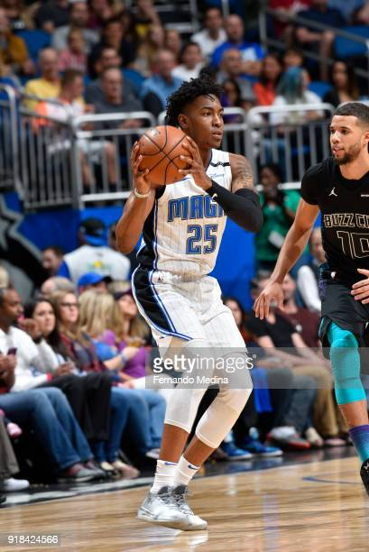 Wesley Iwundu of the Orlando Magic handles the ball against the Charlotte Hornets on February 14 2018 at Amway Center in Orlando Florida NOTE TO USER...