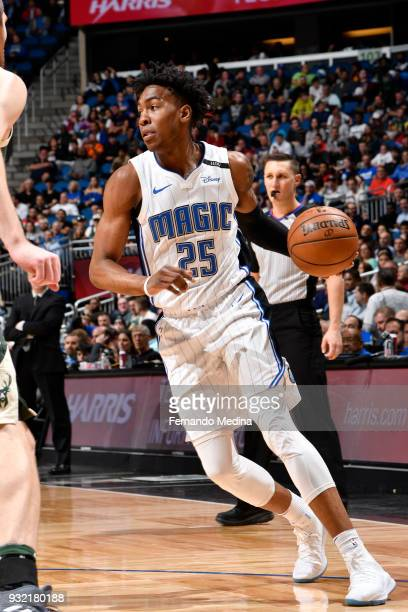 Wesley Iwundu of the Orlando Magic handles the ball against the Milwaukee Bucks on March 14 2018 at Amway Center in Orlando Florida NOTE TO USER User...