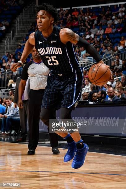 Wesley Iwundu of the Orlando Magic handles the ball against the Charlotte Hornets on April 6 2018 at Amway Center in Orlando Florida NOTE TO USER...
