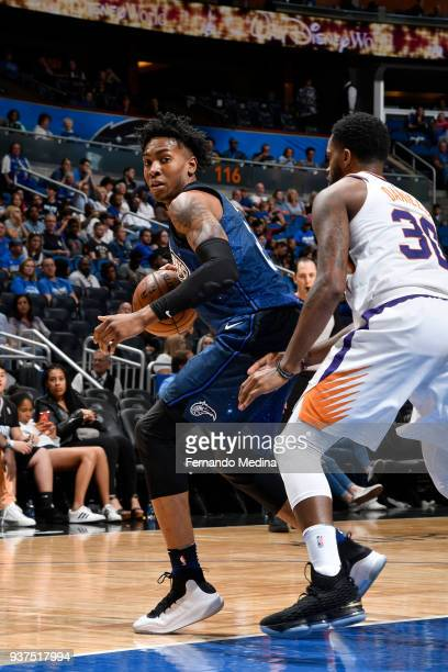 Wesley Iwundu of the Orlando Magic handles the ball against the Phoenix Suns on March 24 2018 at Amway Center in Orlando Florida NOTE TO USER User...