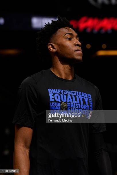Wesley Iwundu of the Orlando Magic is seen wearing the Equality warmup shirt before the game against the Washington Wizards on February 3 2018 at...